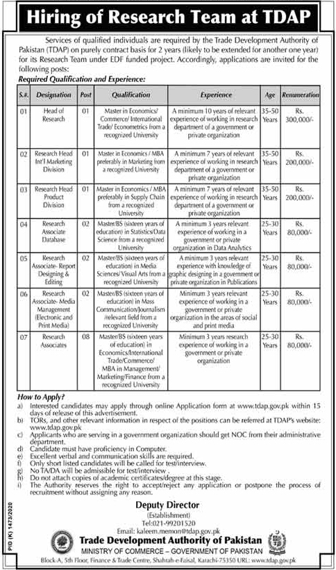 Latest Trade Development Authority of Pakistan Jobs