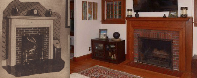 comparison of 1931 catalog image of fireplace against fireplace in Gordon-Van Tine Diana or Rowan • 213 Grand Avenue, Madison, Wisconsin