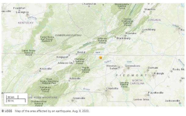5.1 magnitude earthquake suggested close to North Carolina-Virginia border