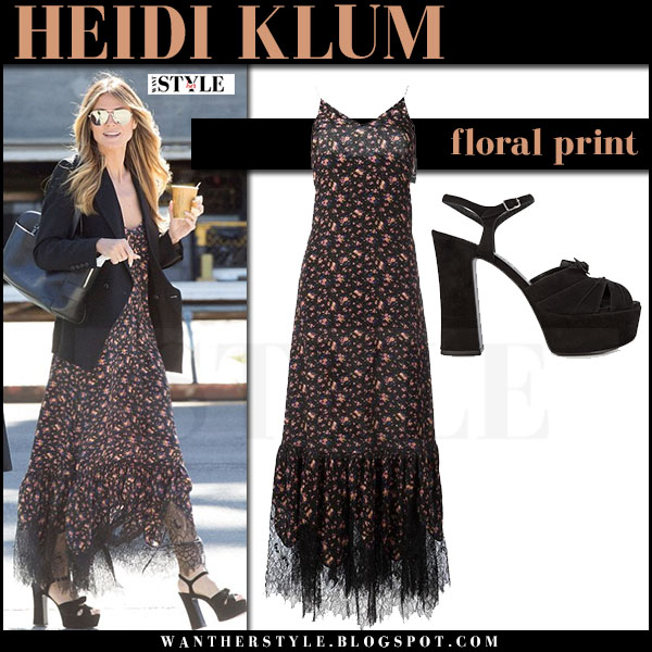 Heidi Klum in black floral print dress alexander mcqueen and black sandals ocean's eight what she wore