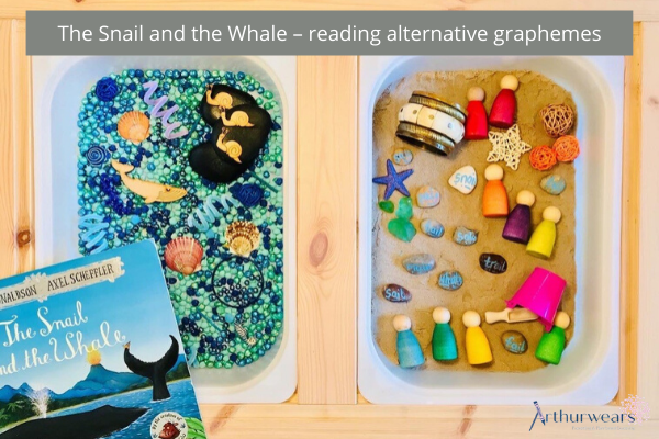 phonics; the snail and the whale tray play - reading alternative graphemes