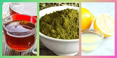 Tea liquor & henna powder & lemon juice