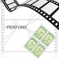 Perfore, kağıt pul ve negatif film üzerindeki delikler