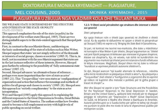 Taulant Muka discovers the plagiarism of the Doctorate work of Monica Kryemadhi
