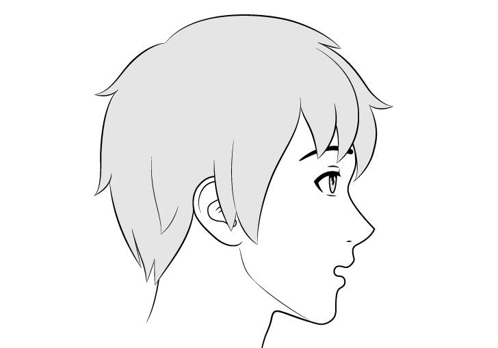 Tampak samping wajah laki-laki anime gambar ekspresi bingung