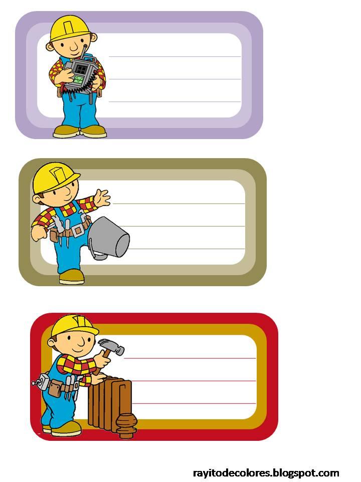 Etiquetas escolares de Bob el constructor