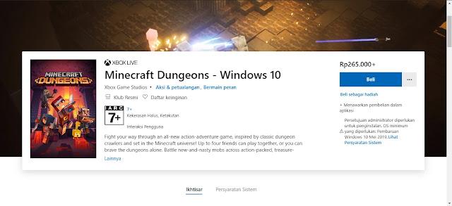 minecraft dungeons microsoft store