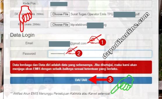 Input Data Login Operator TPQ-Madin-Ponpes kemudian Klik Daftar