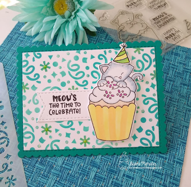 Meow's the time to celebrate by Diane features Confetti and Newton's Cupcake by Newton's Nook Designs; #inkypaws, #newtonsnook, #cardmaking, #catcards, #birthdaycards