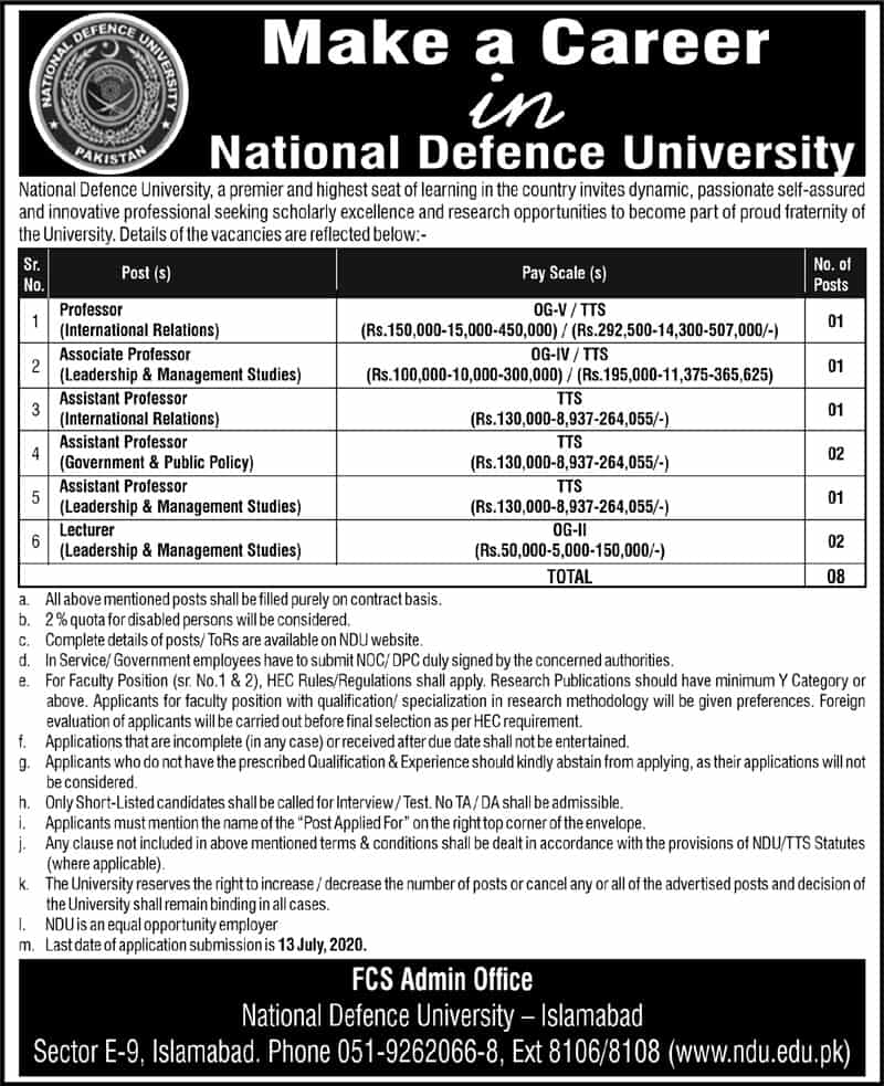 National Defence University Jobs 2020 NDU Application Form Download