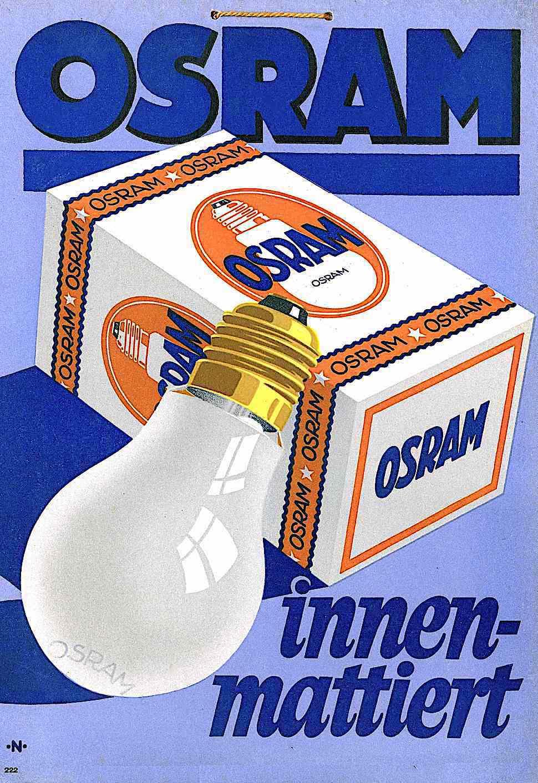 a vintage German advertisement color illustration for Osram electric light bulbs