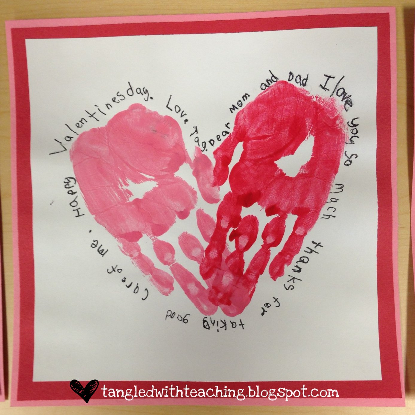 Tangled With Teaching Valentines Heart Felt Handprint Hearts