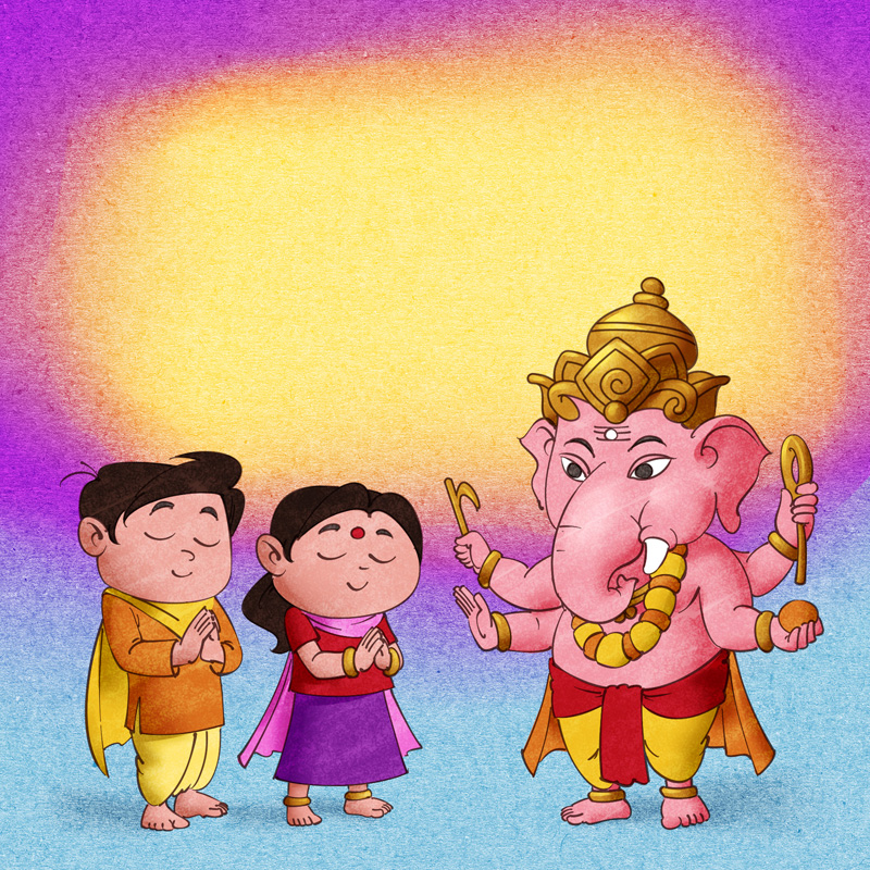 Little boy and girl rendering respect to Lord Ganesha
