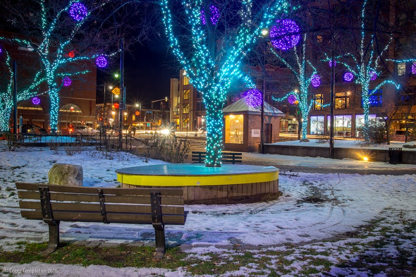 Portland, Maine USA December 2016 photo by Corey Templeton of Congress Square Park at Congress and High Streets with holiday light decorations.