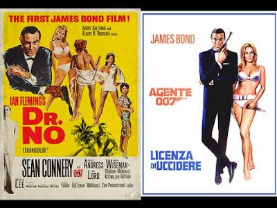 La locandina del film di 007 ''Dr.no'', in italiano ''Licenza di uccidere''
