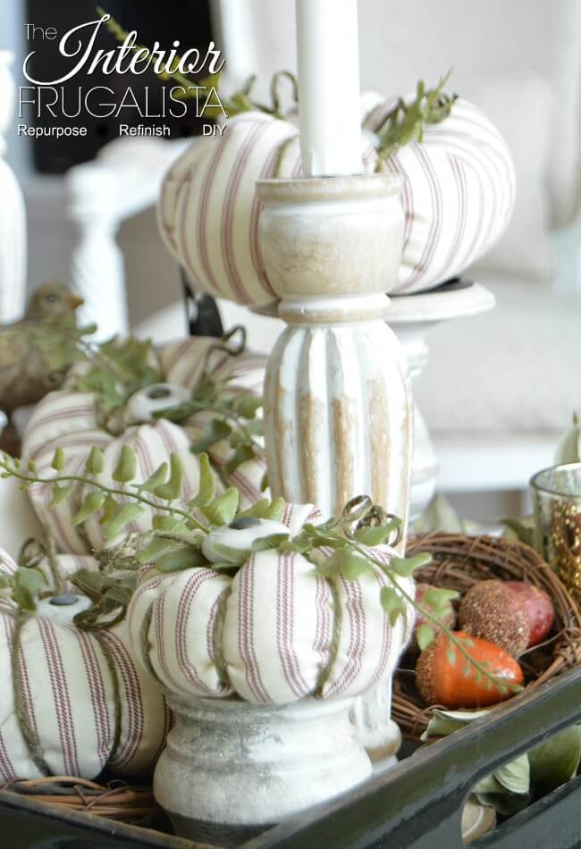Red Ticking Stripe Fabric Pumpkins