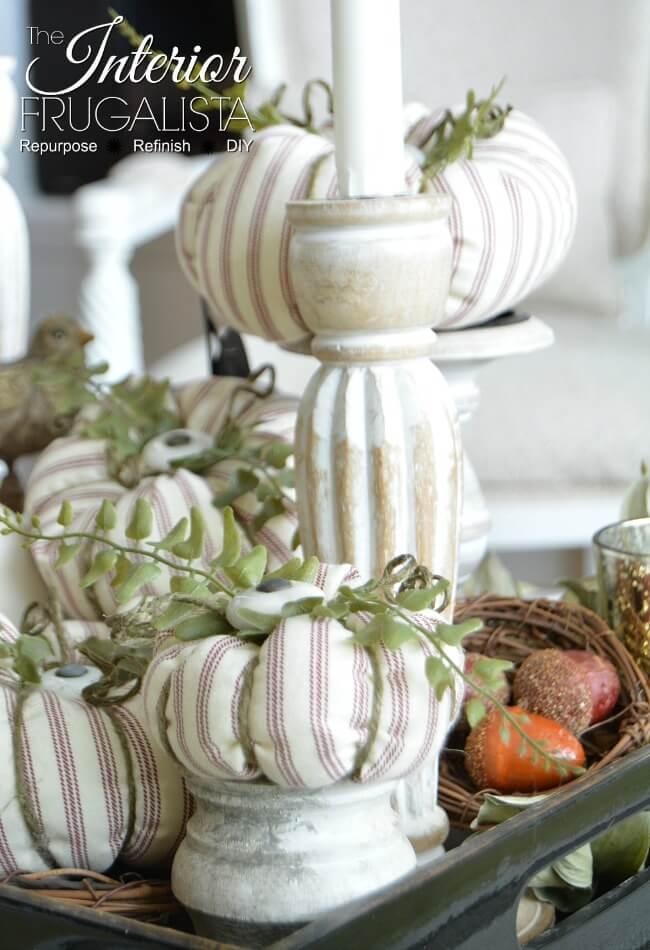 Red Ticking Stripe Fabric Pumpkins
