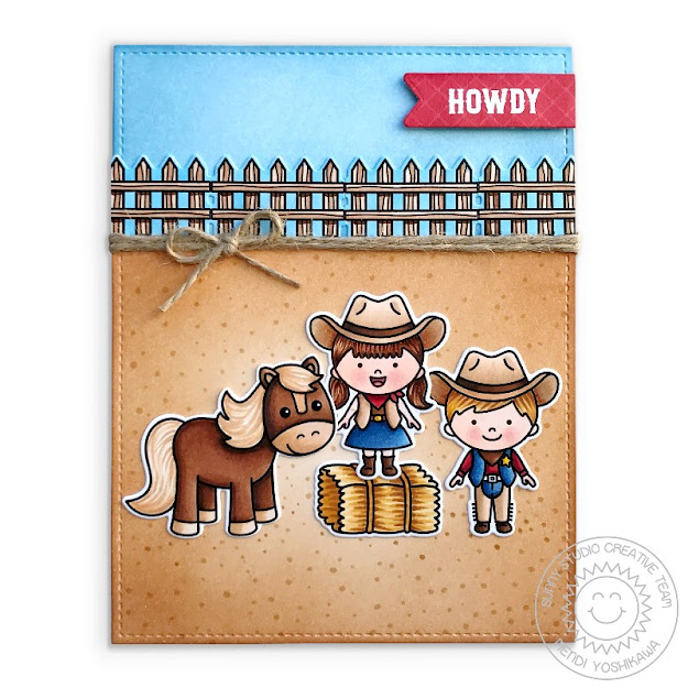 Sunny Studio Howdy Cowgirl & Cowboy Rodeo Card with Horse (using Little Buckaroo, Barnyard Buddies Stamps & Frilly Frames Herringbone Dies)