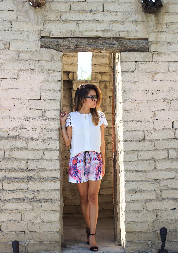 Zara Lace Sleeve top, Watercolor shorts, Prada Poeme sunglasses, beautybitten