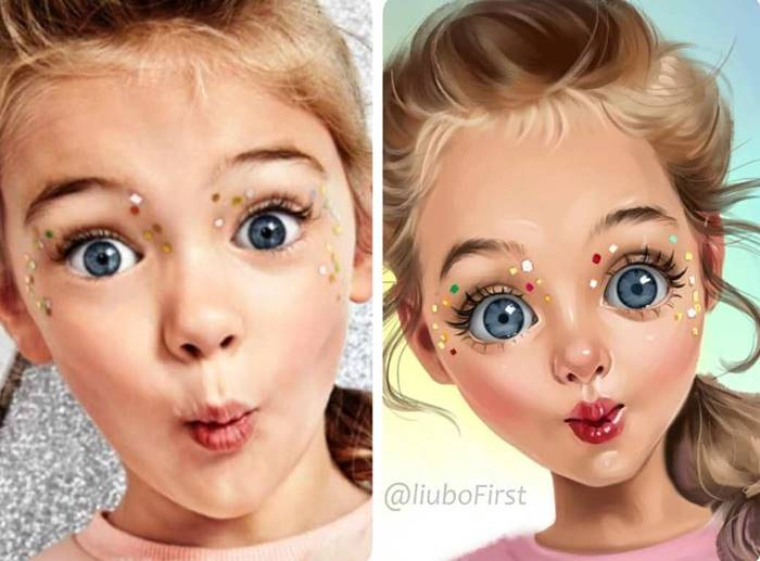 The artist turns children into cartoon characters