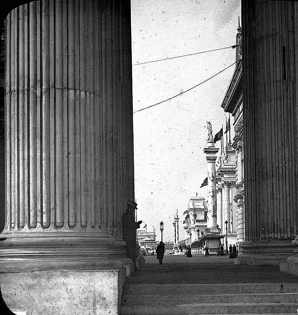 an 1893 photograph at the Columbia Worlds Fair in Chicago, showing giant fluted columns or pillars