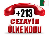 +213 Cezayir ülke telefon kodu