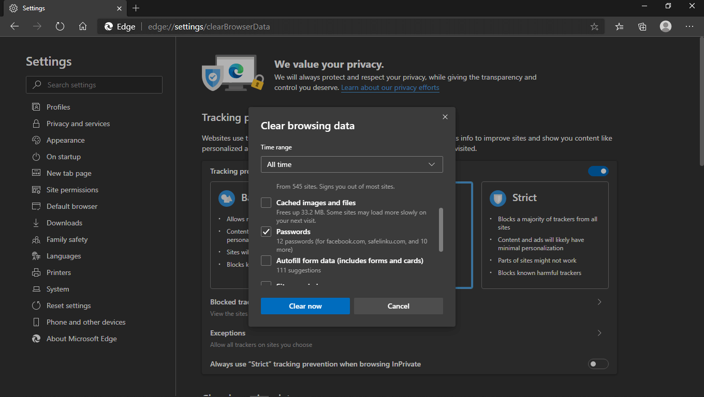 Menghapus Semua Password di Edge Chromium