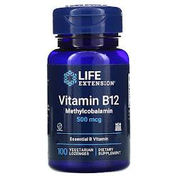 Life Extension, витамин B12, 500 мкг, 100 вегетарианских пастилок