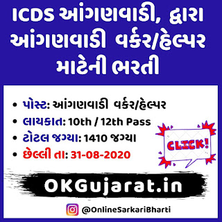 ICDS Anganwadi Worker/Helper Bharti 2020