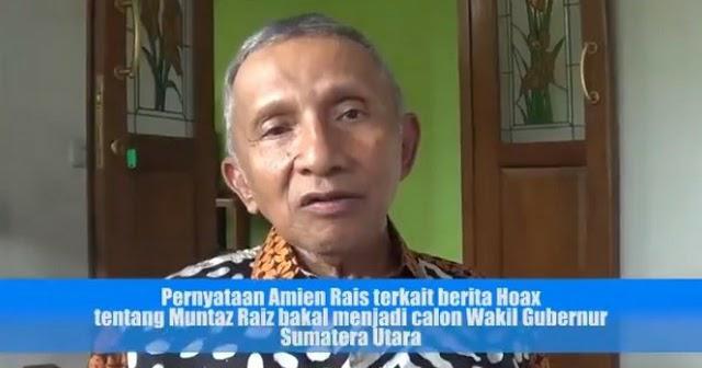 Fitnah Mumtaz Rais Cawagub Sumut, Amien Rais: Itu Cebong sebar Hoax, Silakan pergi ke Laut
