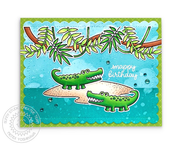 Sunny Studio: Snappy Birthday Punny Crocodile Card (using Outback Critters & Tropical Scenes Stamps, Frilly Frames Hexagon Dies & Classic Sunburst Paper)