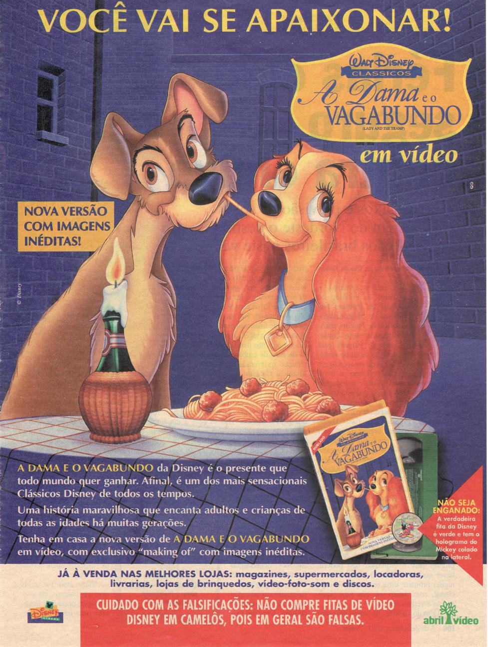 Campanha da Disney promovendo o VHS do filme A Dama e o Vagabundo em 1997