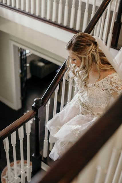 bride in fort myers on stairs