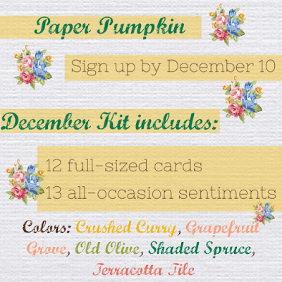 Stampin' Up!'s December Paper Pumpkin Something for Everything kit contents and colors