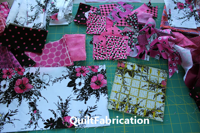6 inch squares from a pink black and white floral print