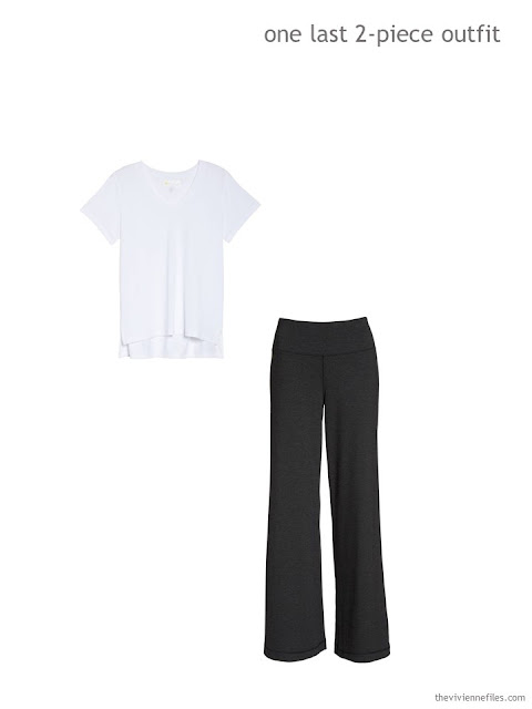 sports outfit of a white tee and black sweatpants
