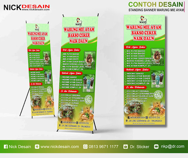 Contoh Desain Standing Banner Warung Mie Ayam Bakso Ceker Naik Daun - Hijau - Tanjungbalai