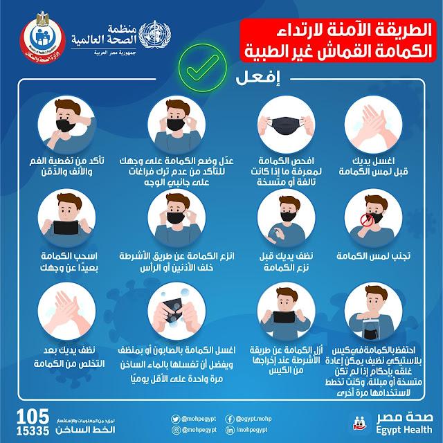 الطريقة الآمنة لارتداء الكمامات القماشية غير الطبية - وزارة الصحة