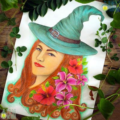 Renata S Tourinho Witch Color pencil drawing