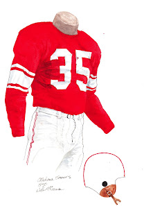 1950 University of Oklahoma Sooners football uniform original art for sale