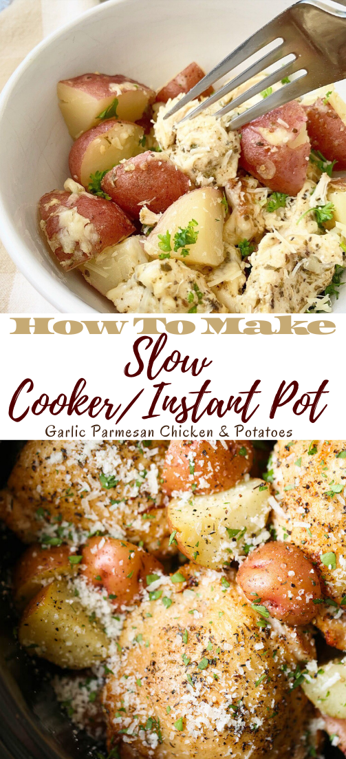 Slow Cooker/Instant Pot Garlic Parmesan Chicken & Potatoes #healthyrecipe #dinnerhealthy #ketorecipe #diet #salad