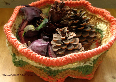 Orange - Tan - Green - Cream Handmade Basket - Fall Colors - Handmade By Ruth Sandra Sperling at RSS Designs In Fiber