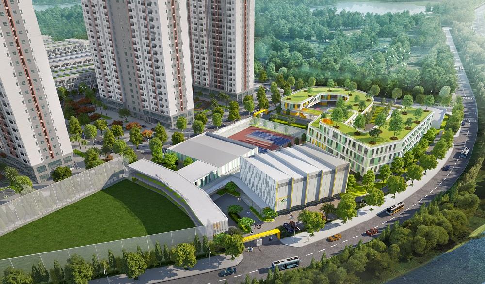 Trường học được bố trí nằm giữa khu Cao Tầng và đường Hà Nội Bắc Giang