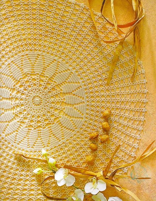 Crochet Tablecloth Pattern - Round And Easy No:2