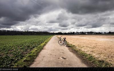 طريق على جانبيه زرع قمح و زرع أخضر و في منتصفه تقف دراجة