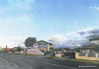 水彩画 ブルーヘブンモーテル / ニュージーランド