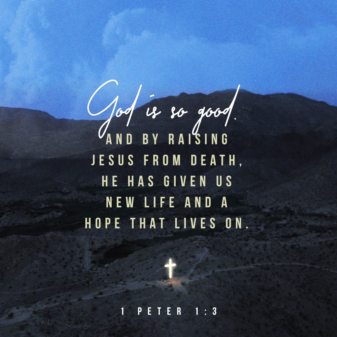 Blessed be the God and Father of our Lord Jesus Christ, which according to his abundant mercy hath begotten us again unto a lively hope by the resurrection of Jesus Christ from the dead, 1 Peter 1:3 KJV https://bible.com/bible/1/1pe.1.3.KJV
