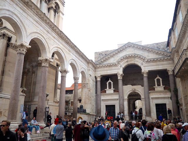 Crowds of tourists in Split, Croatia