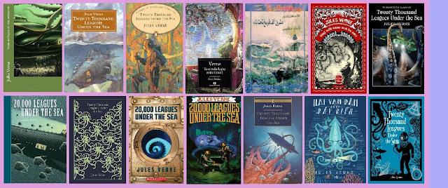 portadas de la novela clásica de aventuras y ciencia ficción Veinte mil leguas de viaje submarino, de Julio Verne