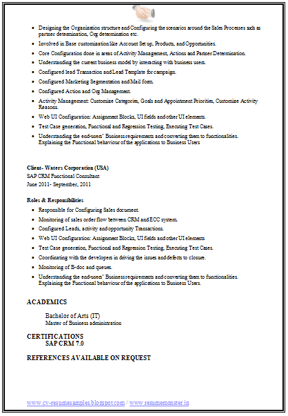 references in the resume sample